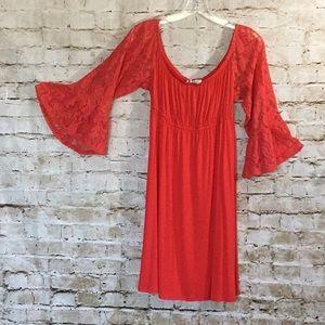 Coral Empire Waist Dress w Lace Sleeves Sz.Lg